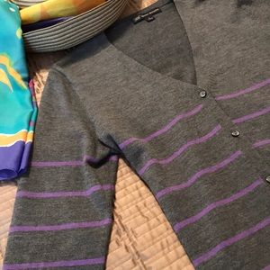 Brooks Bros. gray and lilac cardigan, size L